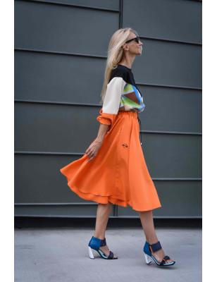 Kolová sukně pomerančová