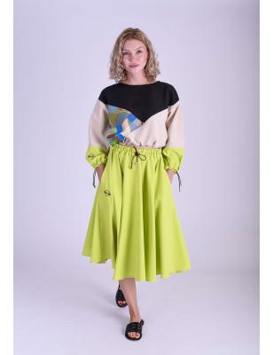Kolová sukně zelená